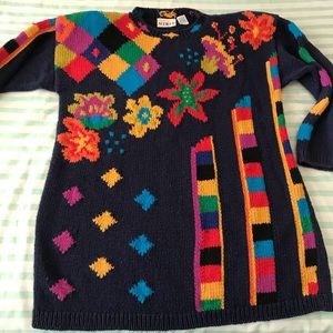 MixIt Vintage Colorful Print Tunic Dress Sweater